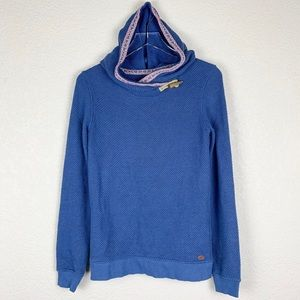 Roxy Blue Woven Baja Hoodie Sweater Wooden Toggle
